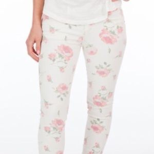 Free People white jeans with pink rose design